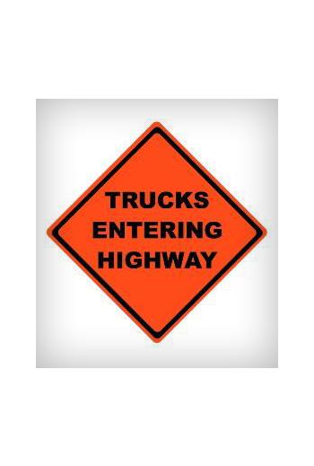 Trucks Entering Highway Mesh Sign (48 X 48)